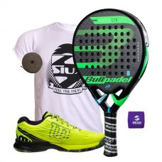 PACK BULLPADEL VERTEX CONTROL 2018 Y ZAPATILLAS WILSON KAOS SAFETY AMARILLO