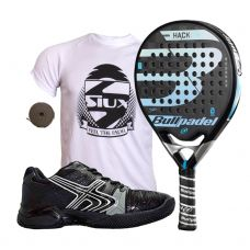 PACK BULLPADEL HACK CONTROL Y ZAPATILLAS SOFTEE 1.0 NEGRAS