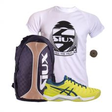 PACK ASICS GEL CHALLENGER 11 CLAY Y MOCHILA SIUX TRAIL 2.0 GOLD