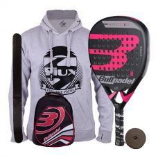 PACK BULLPADEL VERTEX 2 JUNIOR GIRL Y MOCHILA BULLPADEL ROJA