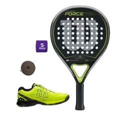 PACK WILSON CARBON FORCE PRO Y ZAPATILLAS WILSON KAOS SAFETY AMARILLO