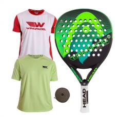 PACK HEAD GRAPHENE TORNADO CONTROL LTD Y DOS CAMISETAS WINGPADEL