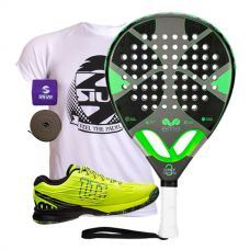 PACK EME TITANIUM GREY Y ZAPATILLAS WILSON KAOS SAFETY AMARILLO