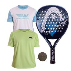 PACK HEAD GRAPHENE TORNADO CONTROL LTD AZUL Y DOS CAMISETAS WINGPADEL