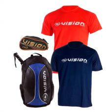 PACK MOCHILA VISION AZUL, NECESER VISION PRO Y CAMISETAS VISION AVALANCHE
