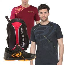 PACK BULLPADEL HACK KNIT 20V NEGRO, MOCHILA Y 2 CAMISETAS