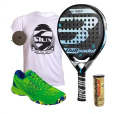 PACK BULLPADEL HACK CONTROL Y ZAPATILLAS WILSON KAOS CLAY COURT VERDE