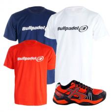 PACK SOFTEE PADEL CHAMPION ROJO NEGRO Y 3 CAMISETAS BULLPADEL